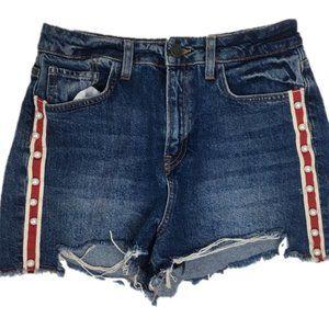 ZARA Jean Shorts White/Red Stripe Pearl Detail